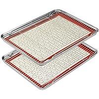 """Footek Baking Sheets, Rack Set & Silicone Baking Mats, Stainless Steel Baking Pans Rectangle 16"""" L×12"""" W×1"""" H, Non Toxic…"""