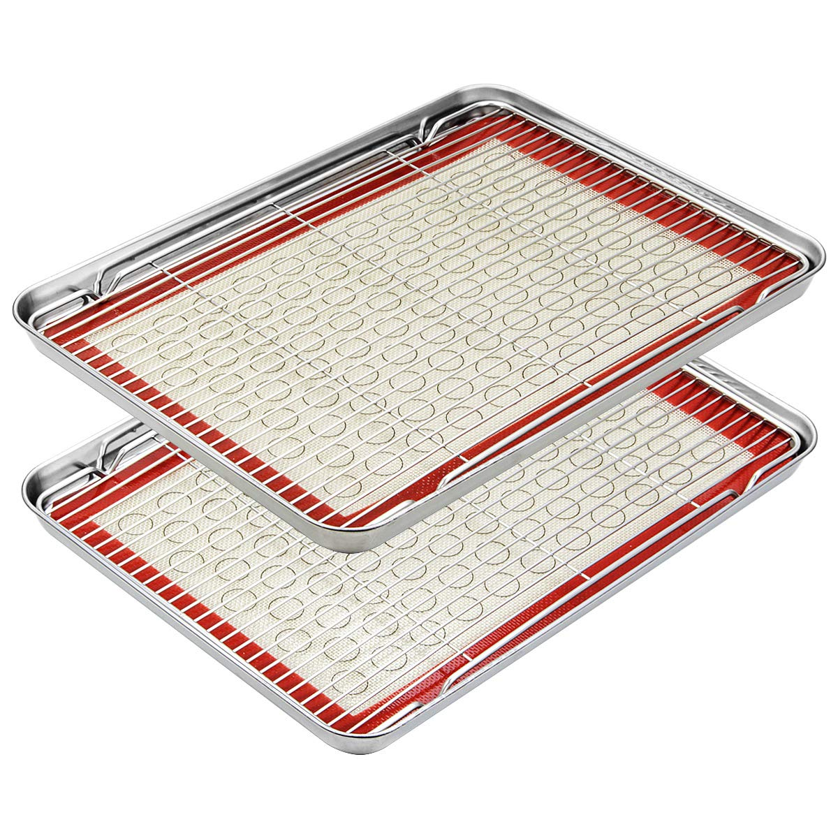 Footek Baking Sheets, Rack Set & Silicone Baking Mats, Stainless Steel Baking Pans Rectangle 16'' L×12'' W×1'' H, Non Toxic & Healthy, Mirror Polish & Easy Clean, Pack of 6 (2 Sheets + 2 Racks + 2 Mats)