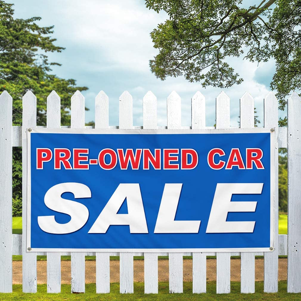 Vinyl Banner Multiple Sizes Pre-Owned Car Sale Auto Vehicle A Automotive Outdoor Weatherproof Industrial Yard Signs Blue 10 Grommets 60x144Inches