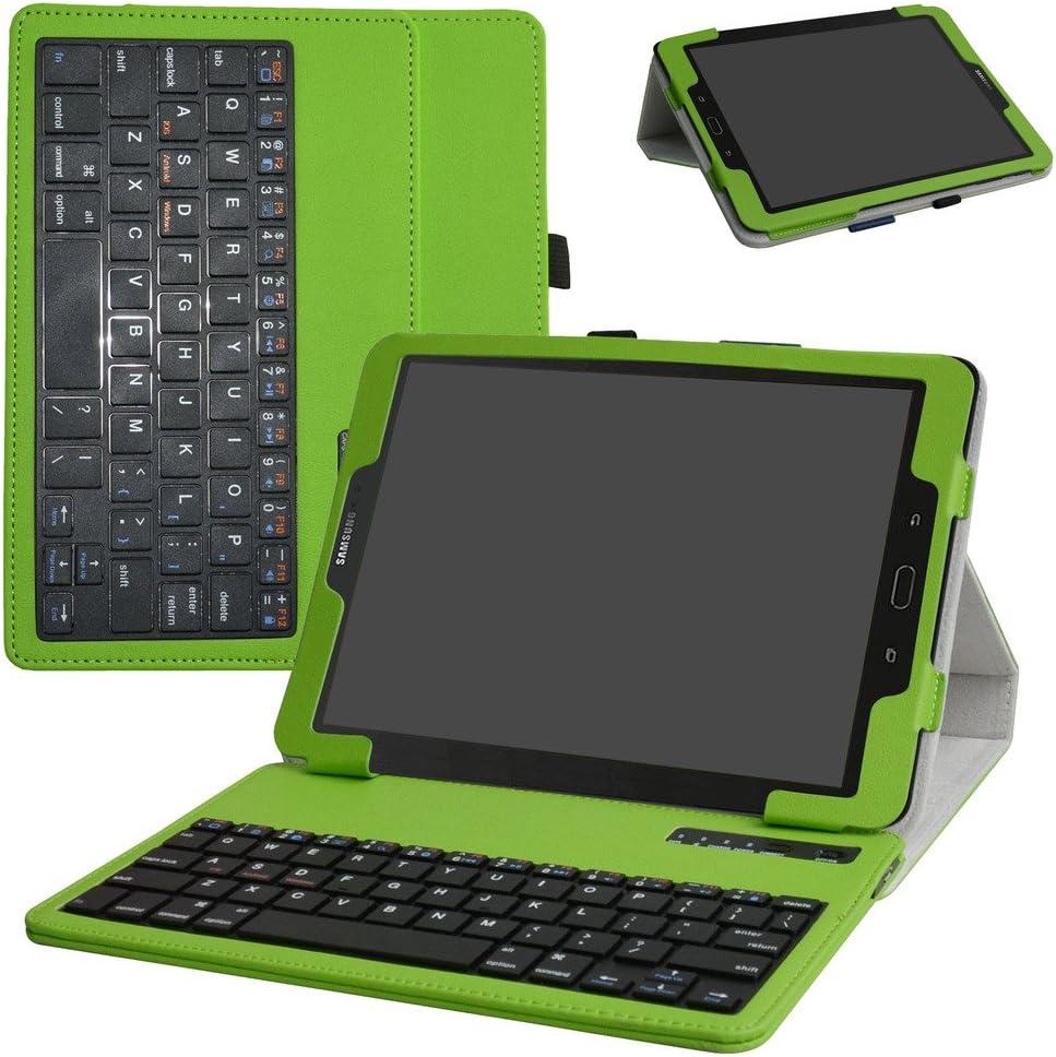 samsung tab s3 9.7 Bluetooth teclado Funda,Mama Mouth DETACHABLE Bluetooth teclado teclado (teclado QWERTY formato inglés) PU Cuero Con Soporte Funda ...