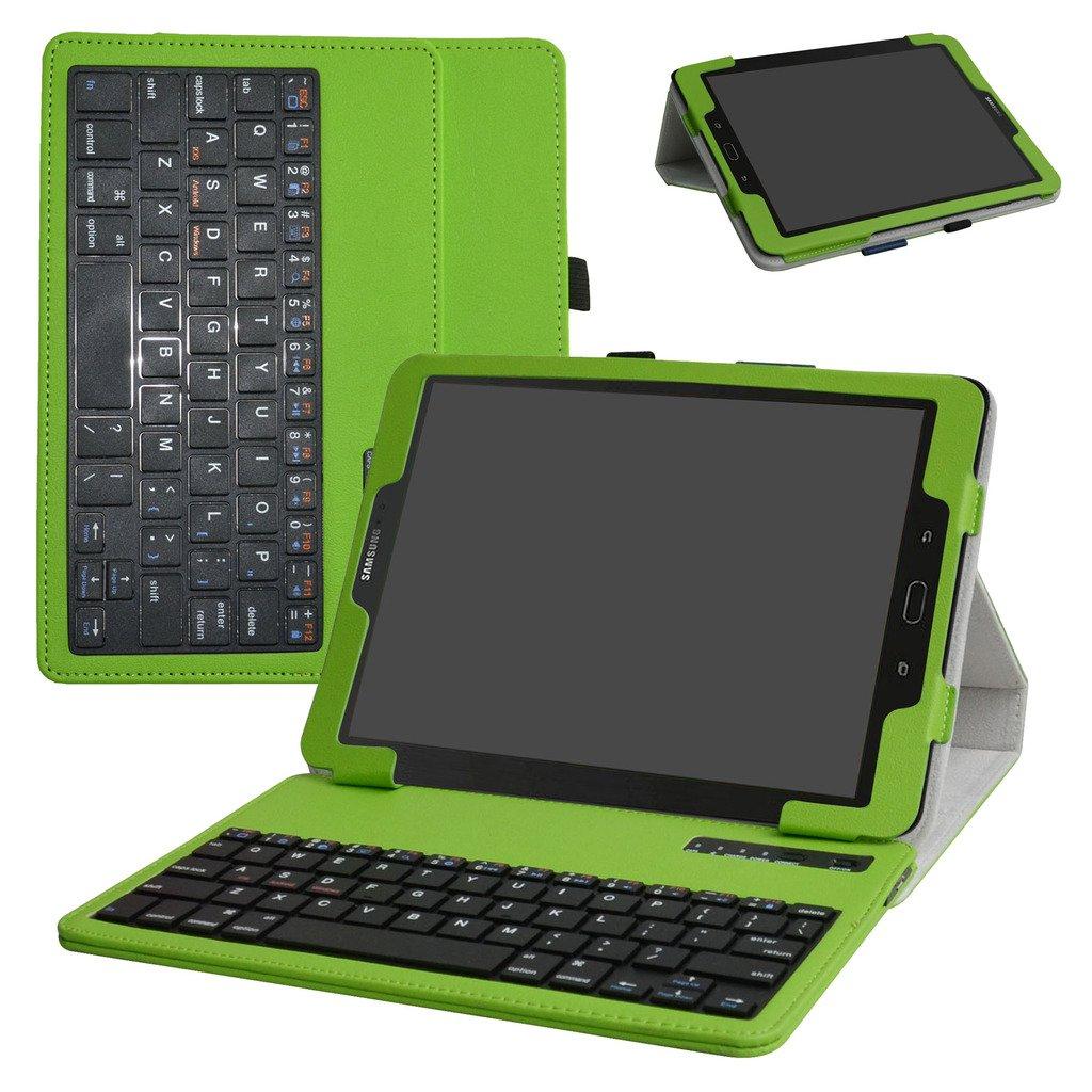 samsung tab s3 9.7 Bluetooth teclado Funda,Mama Mouth DETACHABLE Bluetooth teclado teclado (teclado QWERTY formato inglés) PU Cuero Con Soporte Funda Caso ...