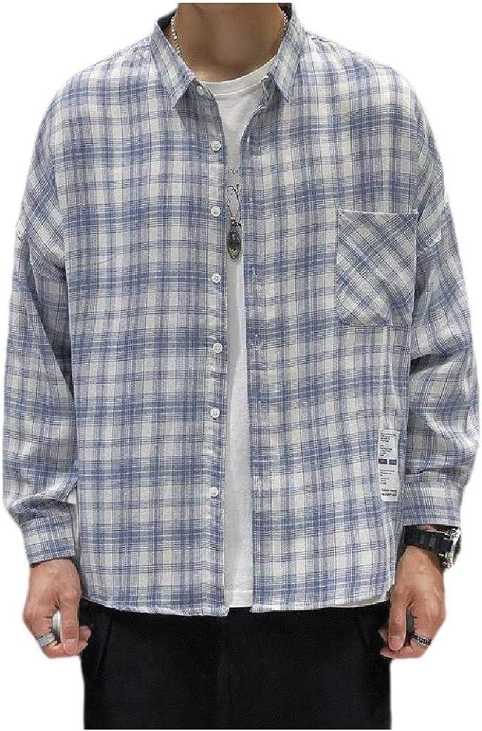 Zimaes-Men Slim Fit Retro Square Collor Plaid Pattern Long-Sleeve Shirts