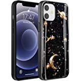 IKAZZ iPhone 12 Case,iPhone 12 Pro Case with Screen Protector,Planets Black Gold Durable Cover with Fashion Designs for Girls