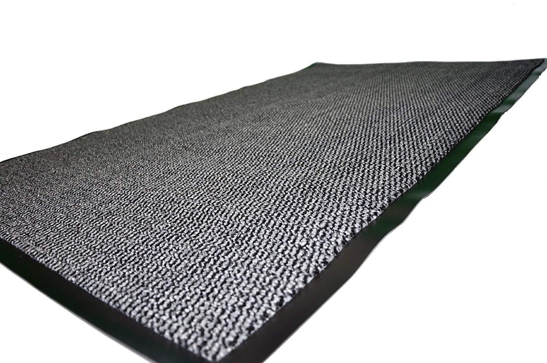 TrendMakers Extra Large Big Dark Light Grey Hardwearing Heavy Duty Black PVC Edge Pile Top Rubber Barrier Entrance Door Kitchen Utility Dust Floor Mats Rugs 90cm x 150cm