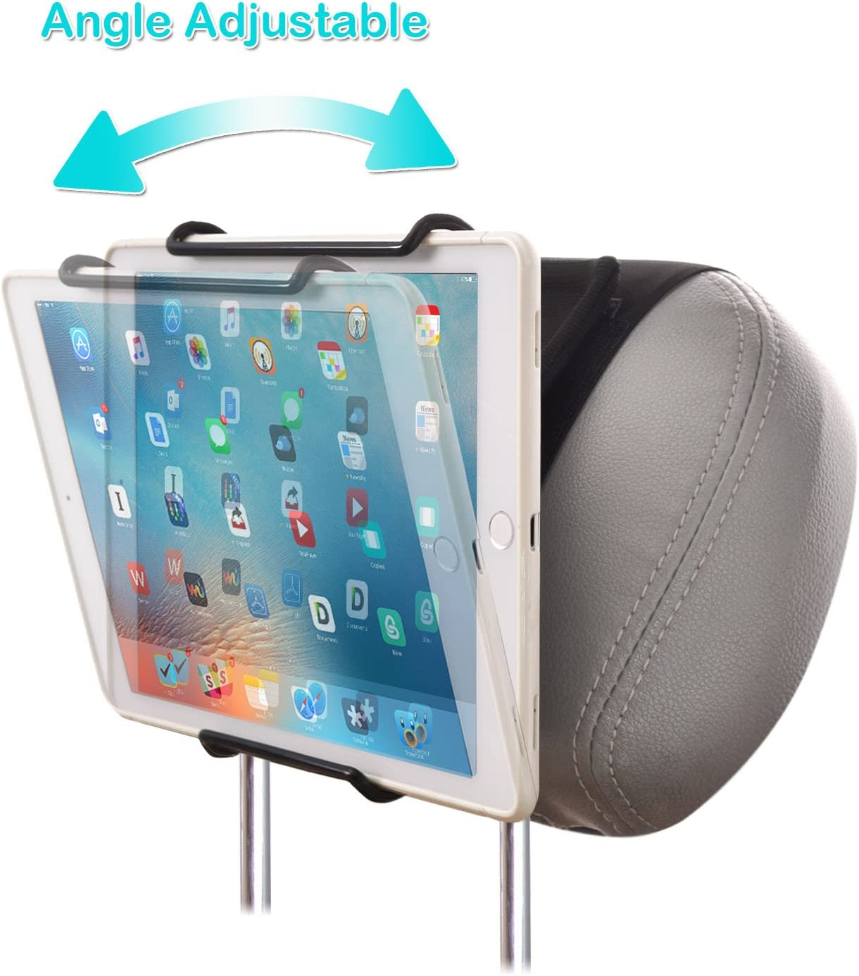 for Use with iPads Samsung Tablets and More WANPOOL Universal Car Headrest Mount Holder with Angle-Adjustable Clamp