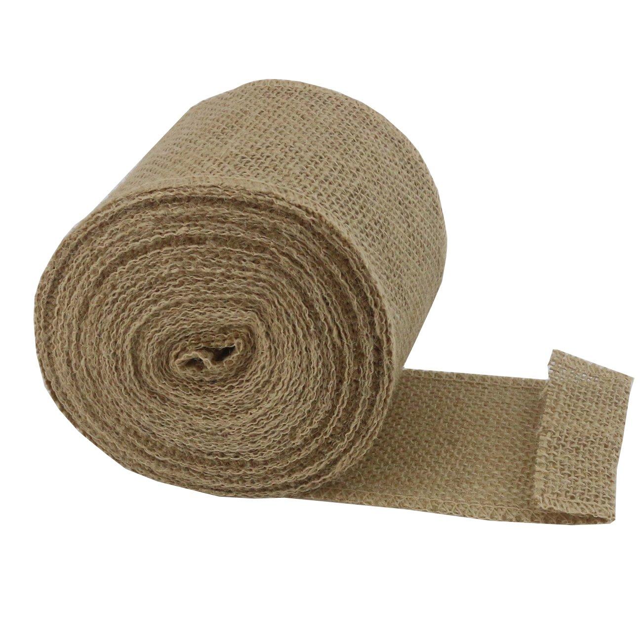Ogrmar 3.15 Inch Wide Rustic Wedding Natural Jute Burlap Ribbon Fabric Hessian Linen Roll Gift Wrap Tablecloth (Brown)