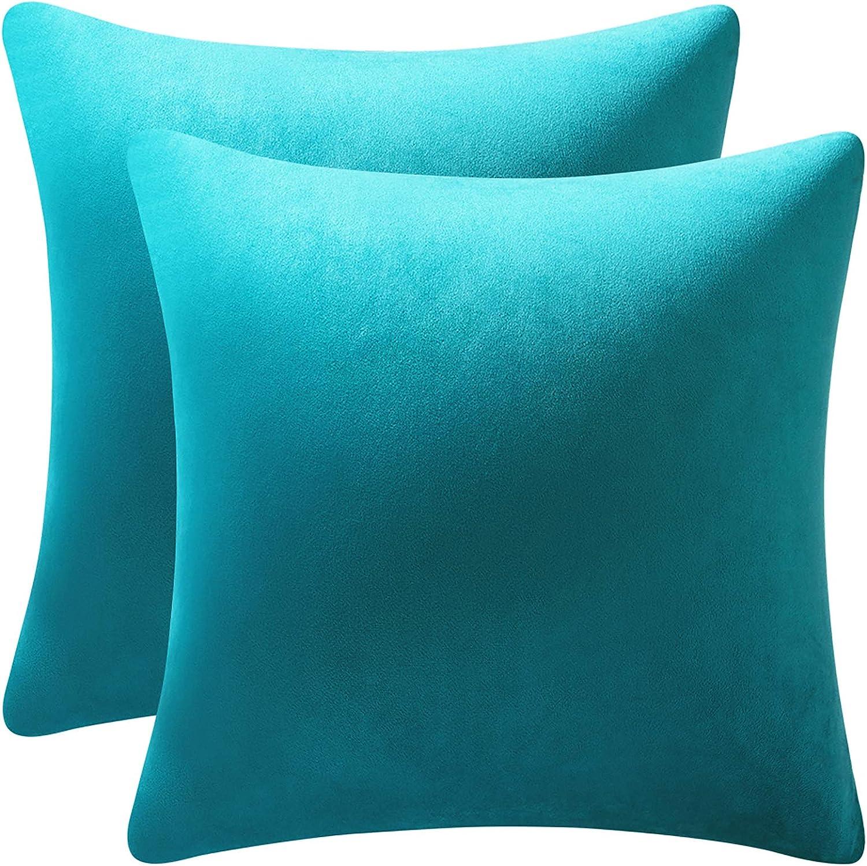 DEZENE Throw Pillow Cases 18x18 Turquoise: 2 Pack Cozy Soft Velvet Square Decorative Pillow Covers for Farmhouse Home Decor