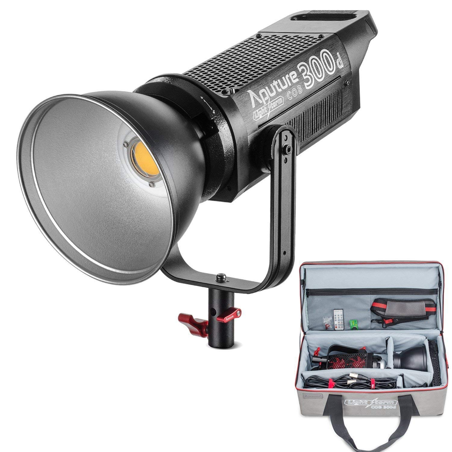 Aputure COB 300D LS C300D Daylight Balanced Led Video Light CRI95+ TLCI96+ 48000lux@0.5M Bowens Mount 2.4G Remote Control 18dB Low Noise V-Mount Plate with Canvas Bag and PERGEAR Cleaning Kit by Aputure