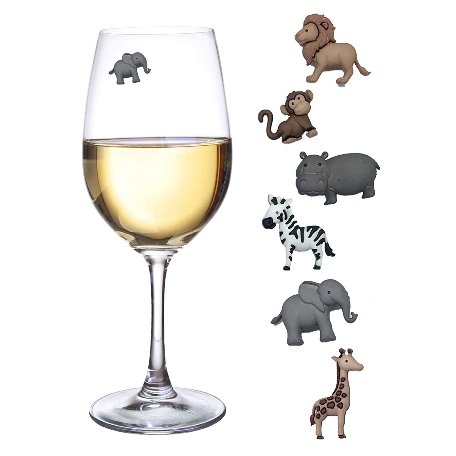 Animal Wine Charms Set of 6 Safari Themed Magnetic Wine Glass Drink Markers Simply Charmed