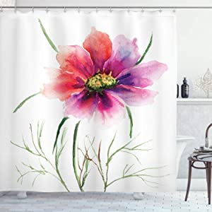 """Ambesonne Watercolor Shower Curtain, 2 Colored Flower Blossom Nature Spring Revival of Life, Cloth Fabric Bathroom Decor Set with Hooks, 70"""" Long, Fuschia Red"""