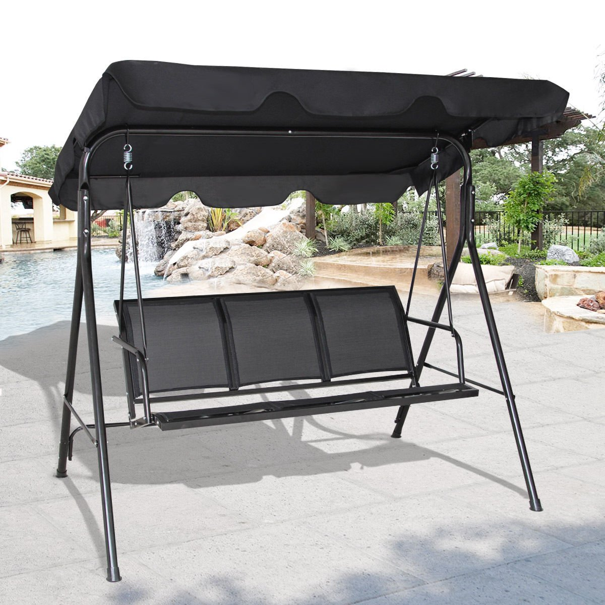 TANGKULA 3 Person Patio Swing Glider Outdoor Swing Hammock Glider Chair (Black)