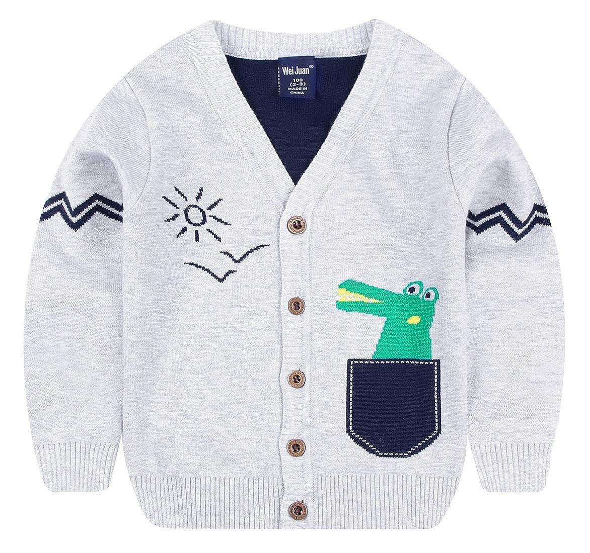 Weijuan Boys Sweater Cartoon Crocodile Long Sleeve Button Down Warm Cardigan 2-7T