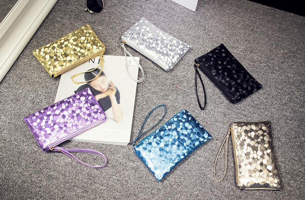 11 2cm 19 Purple Shuda 1 Pcs Femmes Mini Pochette Mode PU Petit Porte-Monnaie Mini Trousse Petite Pochette Poche Sac De Rangement avec Zipper
