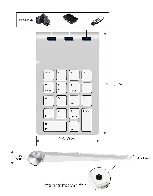 MacBook Pro Cateck Pav/é num/érique USB avec hub USB int/égr/é pour iMac PC et Ordinateurs Portables Mac Mini MacBook Air MacBook