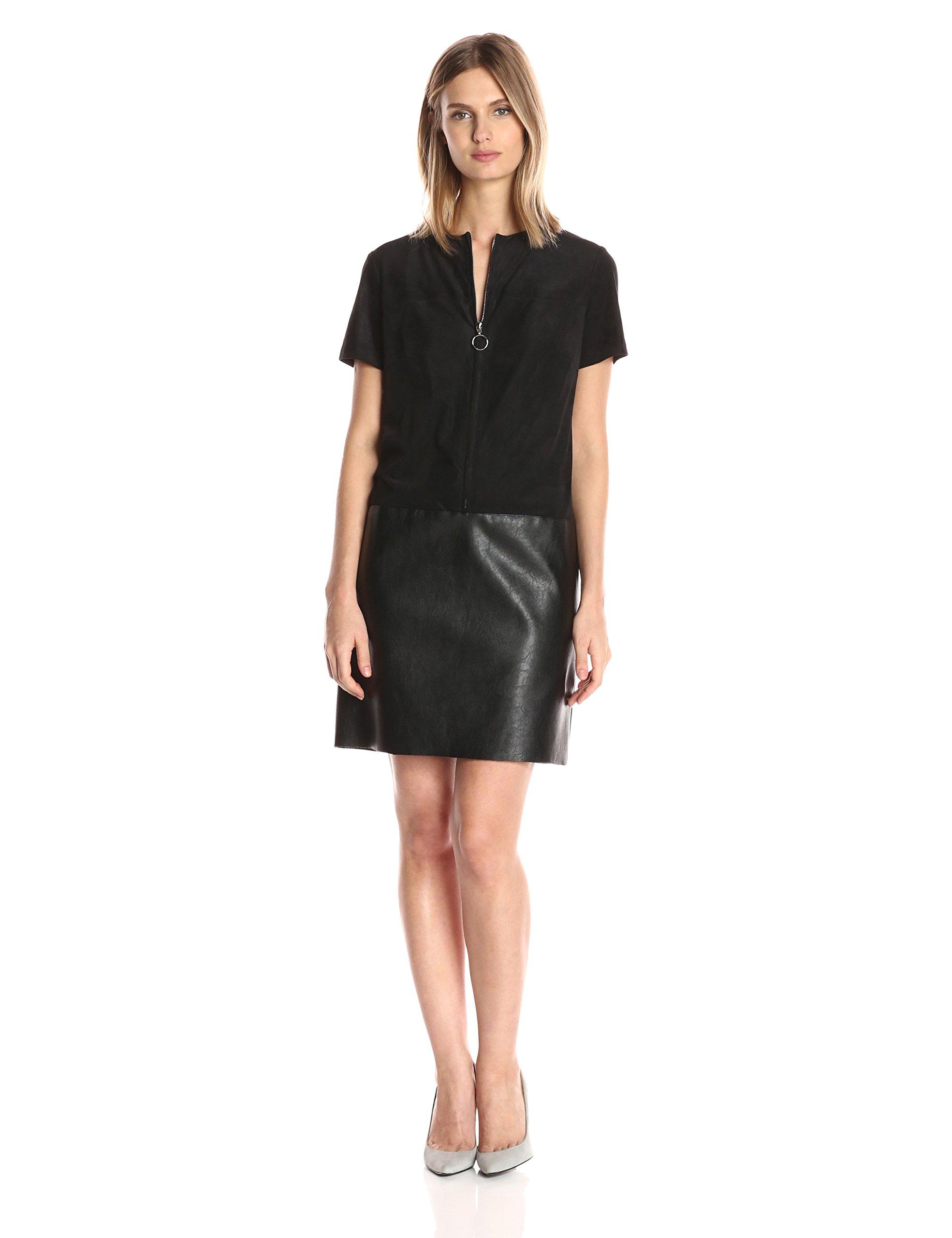 Julia Jordan Women's Short Sleeve Zip Front Faux Leather/Suede Shift Dress, Black, 10