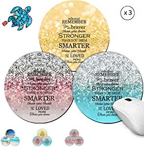 Round Mouse Pads 3 Pack Gaming Mouse Pad for Laptop Computer with Pink Gold and Blue Bible Pattern Mousepad Small Non-Slip Rubber Base Black Mouse Pad Mat for Office & Home and Cute Stickers