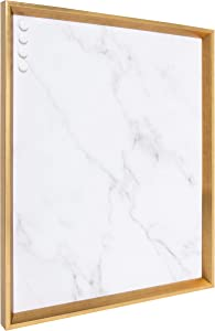 Kate and Laurel Calter Framed Decorative Magnetic Bulletin Board with Classic Glam Cararra Marble Design, 21.5x27.5, Gold