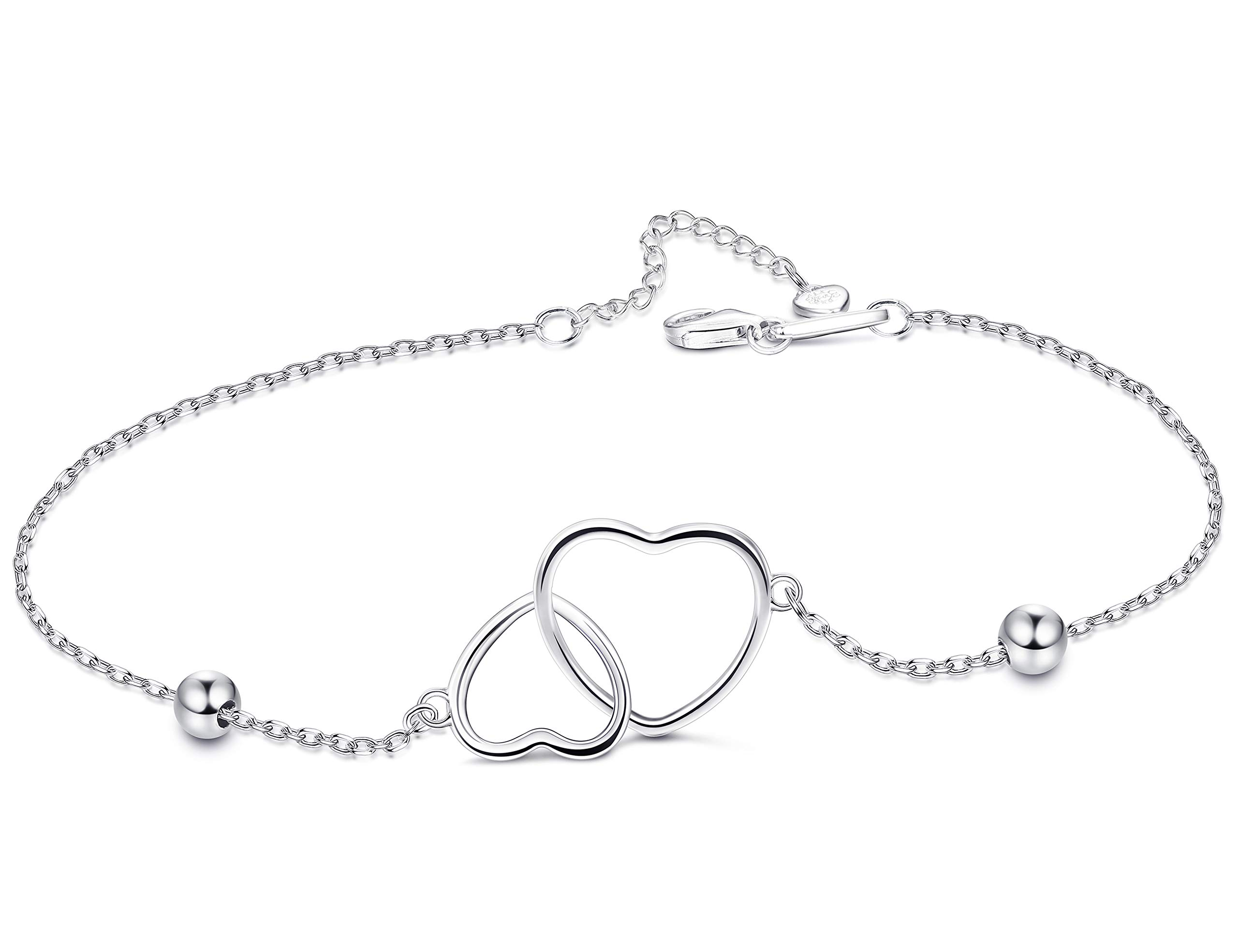 FUNRUN JEWELRY 925 Sterling Silver Double Heart Anklet for Women Girls  Adjustable Foot Ankle Gift for 18802e082cdb