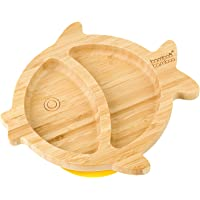 Baby Toddler Bamboo Fish Suction Plate (Yellow)