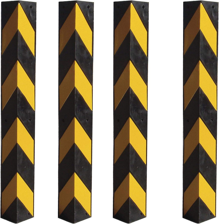 Kantenschutz aus Kautschuk mit gro/ßem Sichtfenster in Schwarz und Gelb Set aus 4 Eckenschutz aus Gummi mit gelben Reflektoren