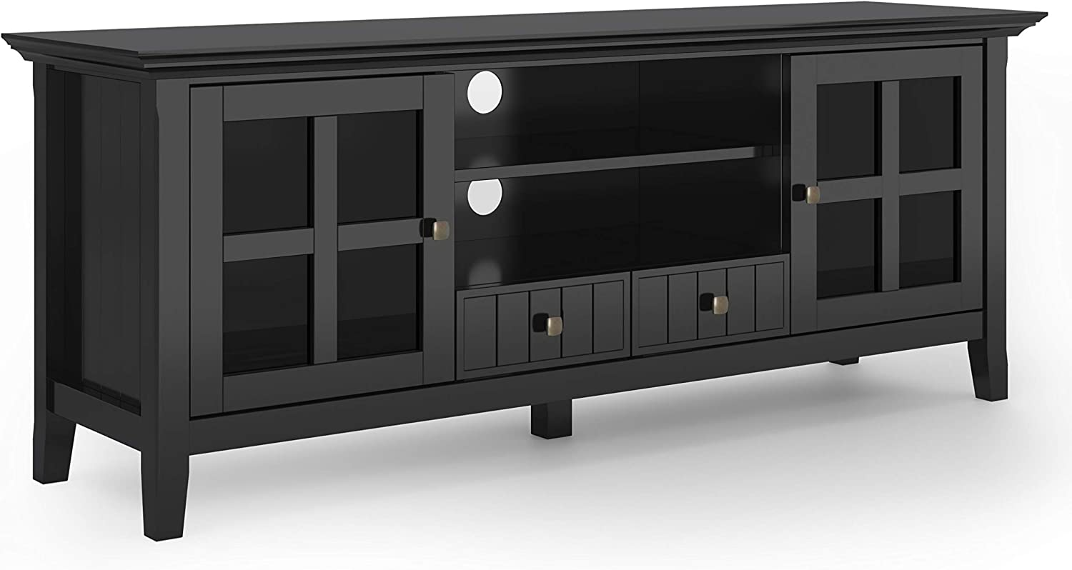 """SIMPLIHOME Acadian SOLID WOOD Universal TV Media Stand, 60 inch Wide, Farmhouse Rustic,Entertainment Center, Storage Shelves and Cabinets, for Flat Screen TVs up to 70"""", Black"""