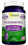 Pure Resveratrol with Red Wine Extract - 180 Capsules - Natural Trans Resveratrol Antioxidant Supplement Pills for Weight Loss & Heart Health - Extra Strength Trans-Resveratrol for Anti Aging