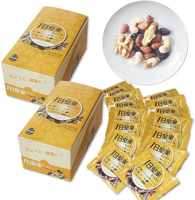 1日堅果ミックスナッツ(新鮮な原料4種素焼きアーモンド40%くるみ20%素焼きカシューナッツ20%レーズン20%)2箱(20gx30袋)1袋94.4円防災食品非常食備蓄食保存食