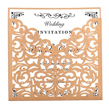 Amazon Com Laser Cut Wedding Invitations Kits 50 Packs Fomtor Laser