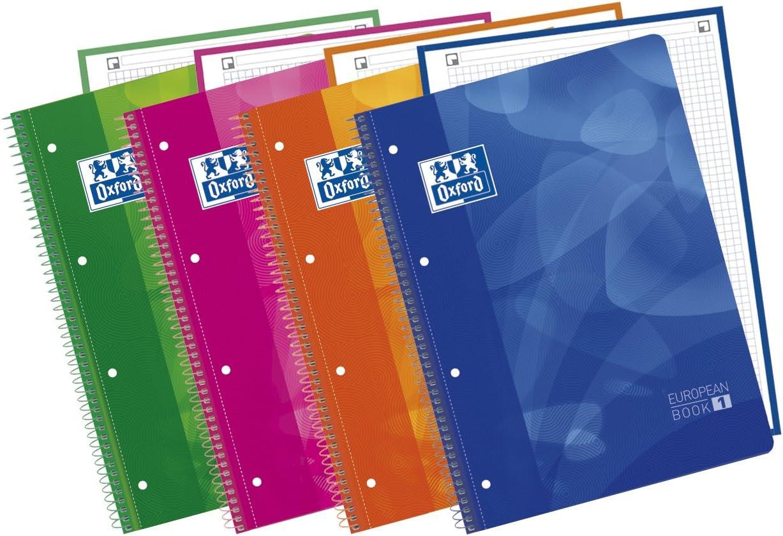 Oxford Lagoon - Pack de 5 cuadernos espiral con tapa de plástico, colores surtidos: Amazon.es: Oficina y papelería