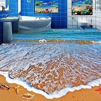 3d Boden Aufkleber Teppich Pvc Selbstklebende Wasserdichte 3d Fliesen Tapetenaufkleber Modernes Badezimmer Wohnzimmer Strand Meereswelle Foto Wandbilder 350 245cm Amazon De Baumarkt