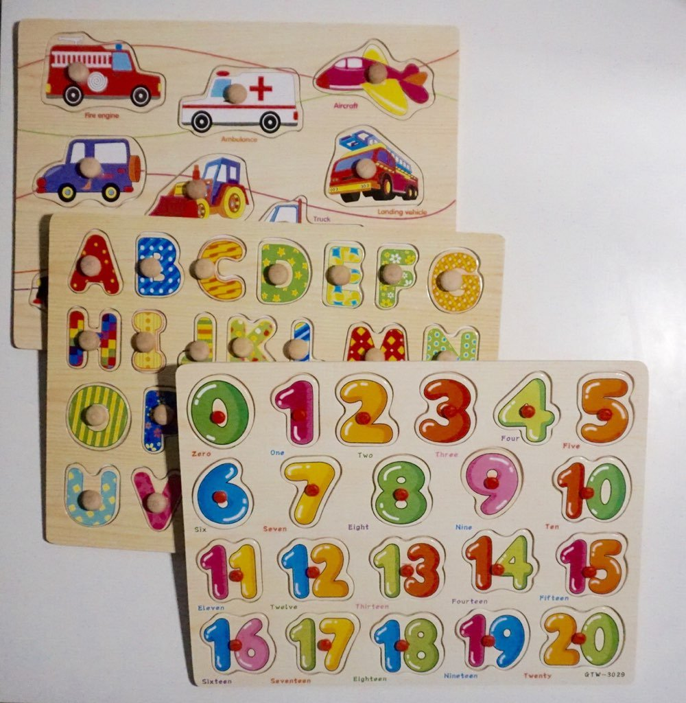 Wooden Peg Puzzles New and Luxurious Toddler, Baby and Children 3-1 design- Numbers, Alphabet and Cars designed with a new feel to make learning fun and enjoyable once more