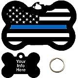Amazon.com  Custom Engraved Pet Tag - Thin Blue Line Flag - Dog Tag ... 0d7fab33c98