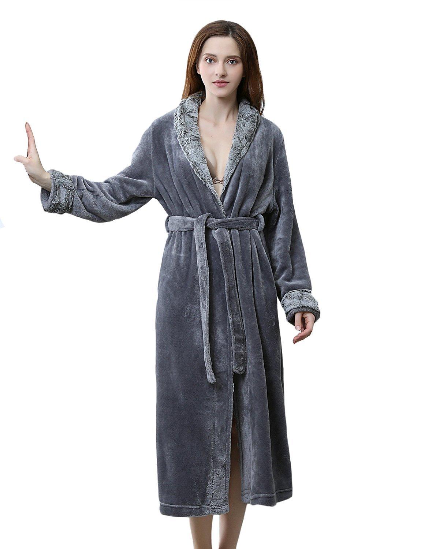 BELLOO Ladies Winter Flannel Dressing Gown Fleece Bathrobe Full Length Loungewear