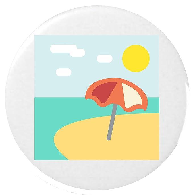 Sonnenschirm strand clipart  Strand mit Sonnenschirm Emoji 25mm Button Abzeichen / Beach With ...
