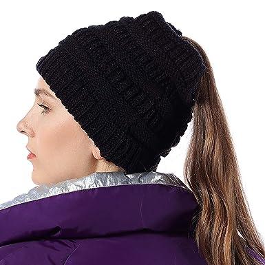 f0a21959a Harrms Ponytail Beanie Hats Beanie Tail Womens/Girls Soft Stretch Cable  Knit Crochet Messy High Bun Cap, Black/White/Gray/Navy ...