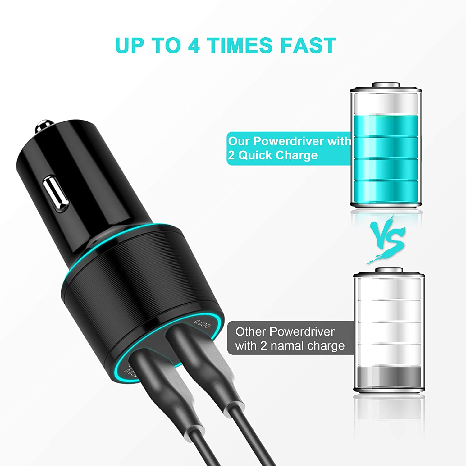 iPad Pro//Air//Mini,etc for Fast charging up to 6A All Metal Car Charger Compatible with iPhone 11//11 pro//XR//X//XS//8 USB Car Charger QC 3.0 Dual USB Port Car Charger Adapter Samsung Note 8//S9//S10+//S8