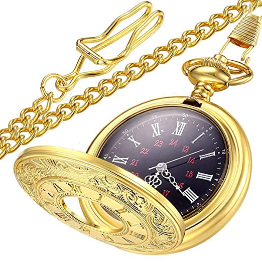 6f72d8fcd Amazon.com: LYMFHCH Vintage Roman Numerals Quartz Pocket Watch, Men ...