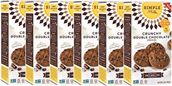Simple Mills Crunchy Cookies, Double Chocolate, Naturally Gluten Free, 5.5 oz, 6 count