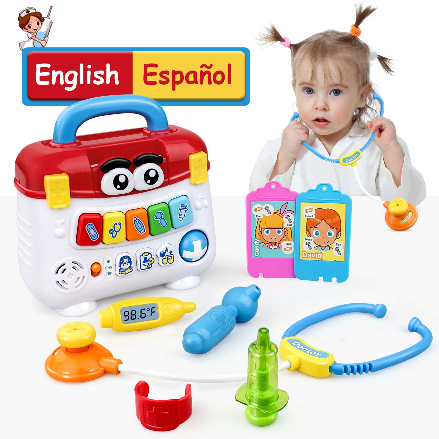 GrowthPic Kids Toy Play Medical Kit Pretend Play Doctor Set for Toddlers - Medical Box with Music, Lights and Preschool Learning Program in English and Spanish for Babies, Boys and Girls 2-6 Years by GrowthPic