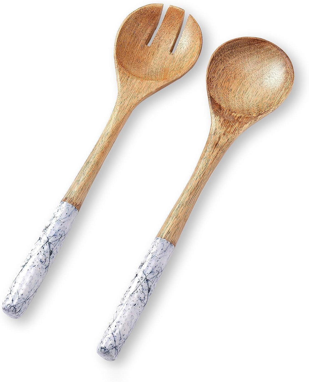 Salad Servers or Salad Tongs, Wooden Utensils for Serving Salad, 12-inch Spoon and Fork Set, Mango Wood, Blue Servers