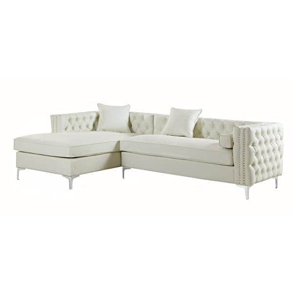 Iconic Home Da Vinci Left Hand Facing Sectional Sofa L Shape Chaise PU Leather Button Tufted with Silver Nailhead Trim Silvertone Metal Leg with 3 Accent Pillows, Modern Contemporary, Cream