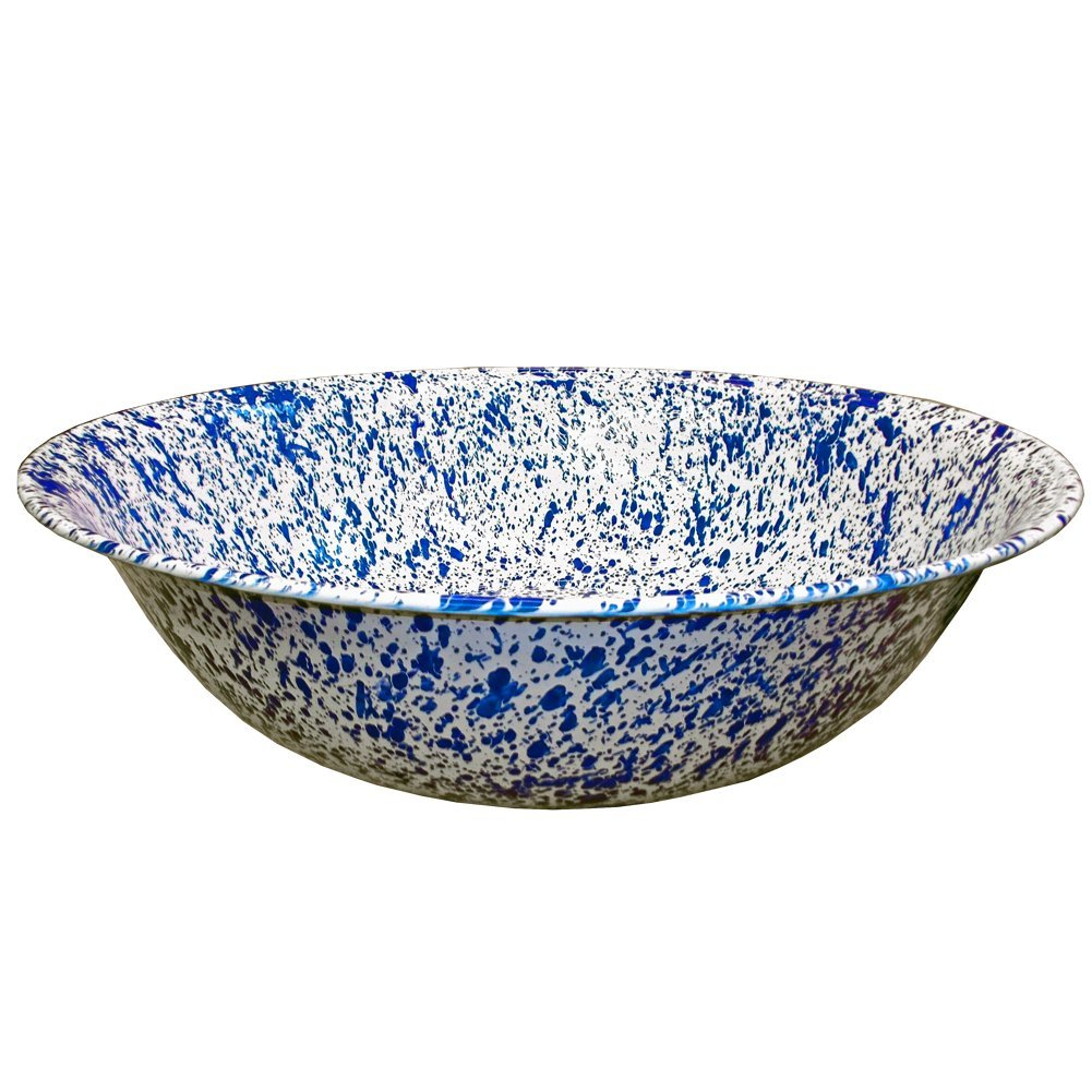 Enamelware Giant Basin - Blue Marble