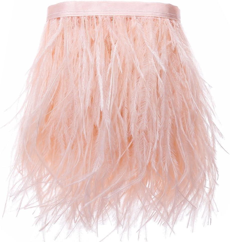 VoilaLove Strau/ßenfedern Borte Fransen mit Satinband zum N/ähen von Kleidern Basteln Kost/üme Dekoration 186cm Leder pink