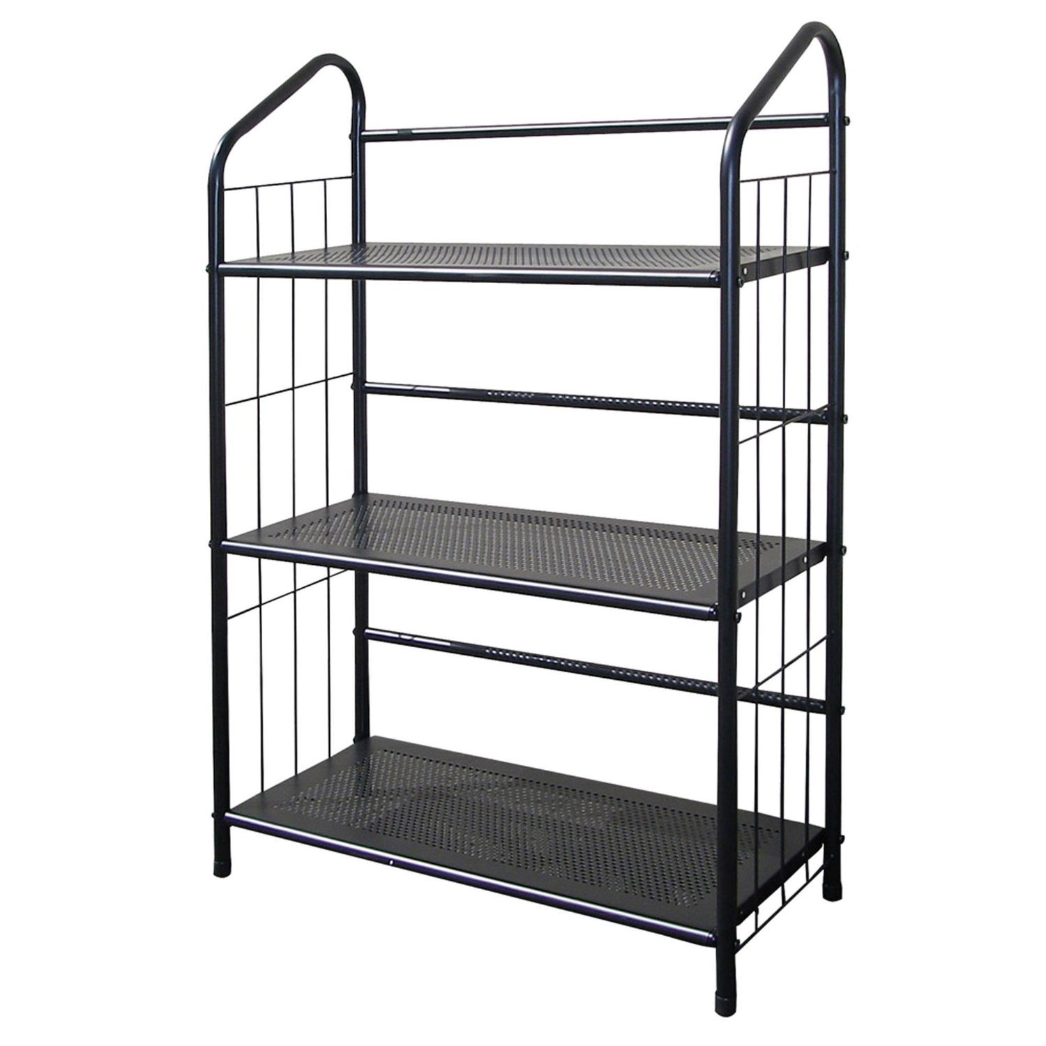 unbrand R597-4 FT597BK-4 Black Metal Book Shelf 4 Tier