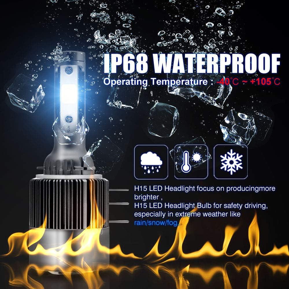 H15 Faros Delanteros LED,110W h15 LED Canbus Bombillas 9200LM 6500K 12V 24V luz DRL Kit de conversi/ón Faro de la bombilla Conversi/ón de luz hal/ógena 2Pz