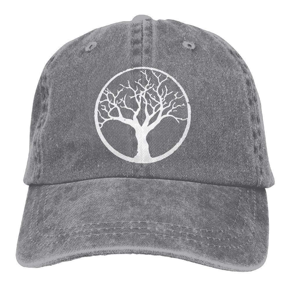 JTRVW Cowboy Hats 2018 Adult Fashion Cotton Denim Baseball Cap Bonsai Tree in Enso Circle-1 Classic Dad Hat Adjustable Plain Cap