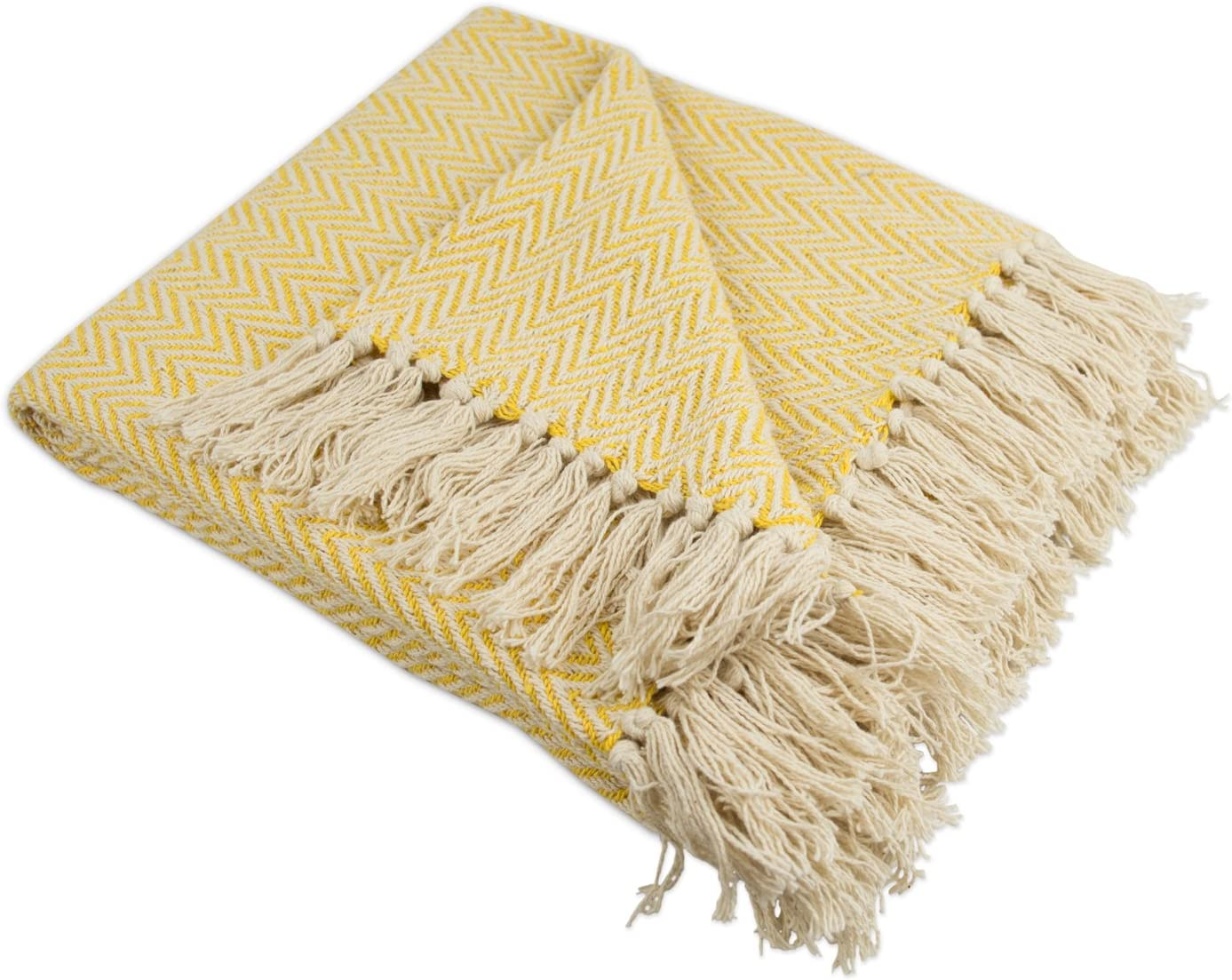 "DII Rustic Farmhouse Cotton Chevron Blanket Throw with Fringe For Chair, Couch, Picnic, Camping, Beach, & Everyday Use , 50 x 60"" - Mini Chevron Marigold"