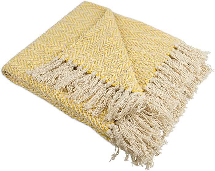 """DII Rustic Farmhouse Cotton Chevron Blanket Throw with Fringe For Chair, Couch, Picnic, Camping, Beach, & Everyday Use , 50 x 60"""" - Mini Chevron Marigold"""