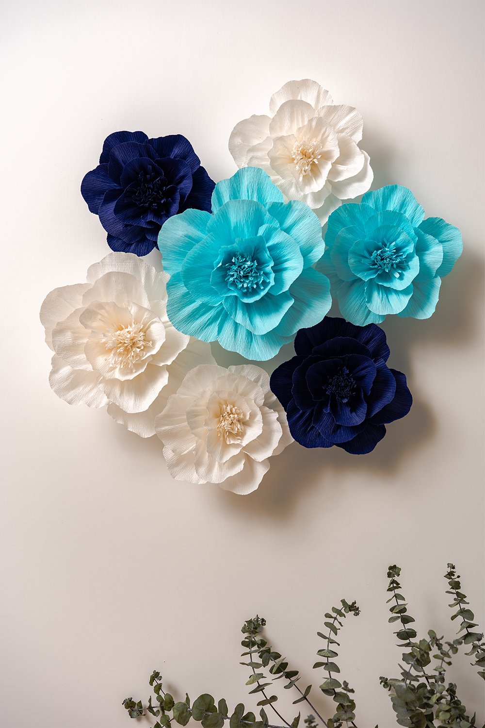KEY-SPRING-Paper-Flower-Decorations-Crepe-Paper-Flowers-Giant-Paper-Flowers-Navy-Blue-Light-Blue-White-Set-of-7-Large-Paper-Flowers-for-Wedding-Backdrop-Nursery-Wall-Decorations-Baby-Shower