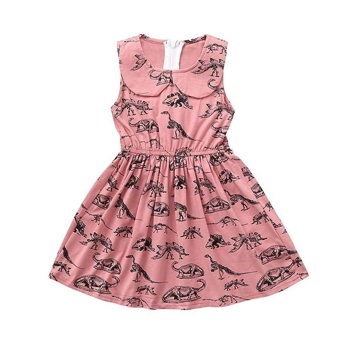 Newborn Kids Baby Girls Cotton Sundress Dinosaur Sleeveless Dress Summer Clothes